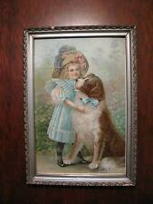 Antique Vintage Gesso Framed Print – ROVER AND HIS FRIEND – Wonderful!!!