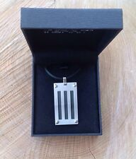 INSPIRIT Mens Stainless Steel Dog Tag Necklace - BOXED - Black - Silver
