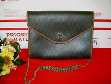 Womens Christian Dior Small Brown Leather Trim Shoulder Bag Vintage