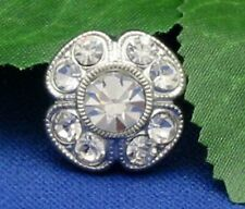 Clear Crystal Rhinestone 14mm Buttons with silver-tone metal - set of 7 l#BT158