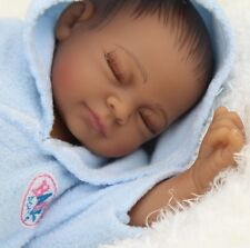 "11"" Real Looking Vinyl Silicone Newborn Black Baby Handmade Reborn Doll 141"