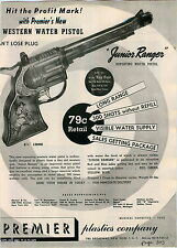 1951 ADVERT Premier Plastics Co Western Water Pistol Junior Ranger New York