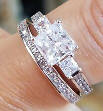 14K White Gold 2ct Princess Wedding and Engagement Ring and Band 2 pc Set 5 to 9