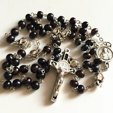 silver skull & Black Real Pearl Bead catholic St.Benedict Rosary Necklace cross