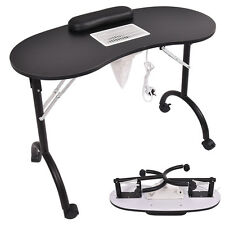 Black Folding Portable Vented Manicure Table Nail Desk Salon Spa With Fan &Bag