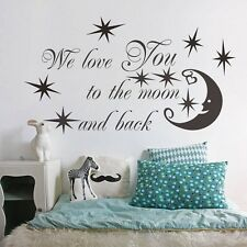 We Love You To the Moon And Back Art Vinyle Autocollants Muraux Mural