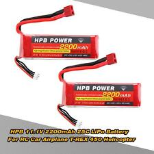 2x HPB 11.1V 2200mAh 25C MAX 35C 3S T Plug Li-po Battery for RC Airplane US Q0L6