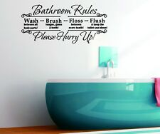 US Bathroom Rules Quotes Removable Wall Sticker PVC Vinyl Art Decals Home Decor