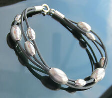 Grey Genuine Leather Cord Bracelet with 925 Sterling Silver Clasp and 925 Beads