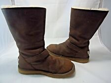 Womens UGG AUSTRALIA Kensington Tall Brown Leather Sheepskin Boots #5678 Size 7