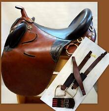 "Premium Australian Aussie Stock Saddle 18"" TAN 2tone Over Under Girth Stirrups"