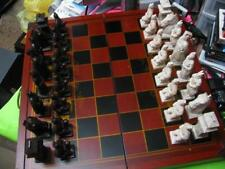 VINTAGE X-LARGE TALL HEAVY CHINESE CHESS SET w/FOLDABLE WOOD BOARD & STORAGE BOX
