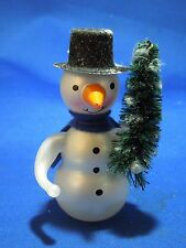 Glass Snowman Holding a Christmas Holiday Pine Tree Table Shelf Figurine