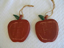 Set of 2 Wooden Apple Ornaments Teacher Country Primitive Folk Decoration 3.5""