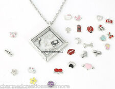 Stainless Steel Crystal CZ Square Floating Charm Locket Necklace Plus Chain