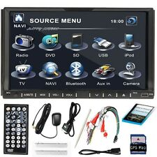"7"" TFT Double 2Din Car DVD Player Stereo TV Radio GPS MAP CARD SAT NAV Bluetooth"