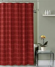 Poinsettia Red Geometric Jaquard Fabric Shower Curtain