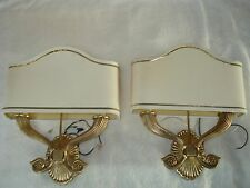 LOT OF 2 SOLID BRASS LIGHT SCONCES WITH SHADES