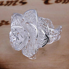 New Women Fashion Flower Ring 925 Silver Plated Jewelry
