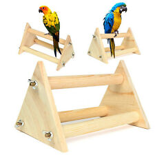 Fun Parrot Bird Perch Stand Play Toys Gym Wooden Activity Table Top Playstand