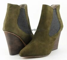 STEVEN STEVE MADDEN MALIIK Green Designer Fashion Shoes Wedge Heel Ankle Boots 6