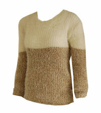 New Women ladies gorgeous knitted cream beige fluffy jumper top size 10
