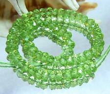 "NATURAL GREEN FINEST GEM GRADE FACETED PERIDOT BEADS 4.5mm 34ct 6"" STRAND"
