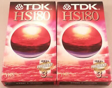 TDK HS180 3 horas Vhs Video Cassette X 2 Totalmente Nuevo