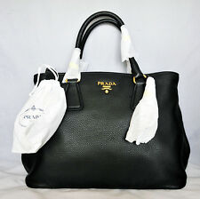 NWT! PRADA Black VITELLO DAINO  Leather Bag 1BA794 MEDIUM