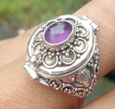 925 Solid Silver Balinese Poison Wish Locket Ring Amethyst Cab Size 10-H120