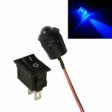Grande 10 Mm Led Intermitente Azul Auto Moto arrojar falsa falsa alarma + Interruptor 12v