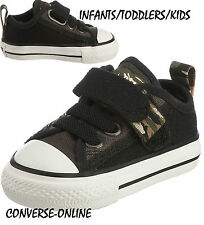 BABY Boy CONVERSE All Star BLACK VELCRO CAMO SLIP ON Trainers Shoes 21 UK SIZE 5