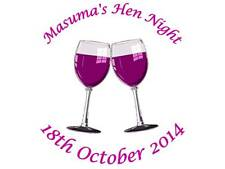70 Personalised Hen Party Stickers Two Purple Glasses 3FOR2 Lables Night