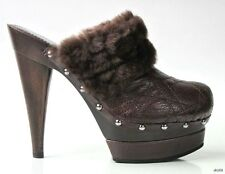 new $640 CHRISTIAN DIOR 'Ice Cannage' platforms shearling CLOGS shoes 38.5 8.5
