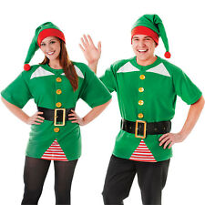 #ADULT UNISEX JOLLY ELF KIT CHRISTMAS SANTAS HELPER FANCY DRESS OUTFIT