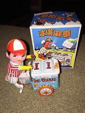 New In Box Vintage Clockwork Tin Ice Cream Vendor Wind-Up Toy (KC)