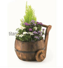 Burntwood Churn Barrel Floral Wooden Planter Garden Patio Summer Hand Crafted