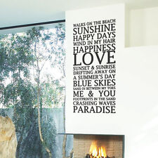Beach Home Love Summer Art Wall Stickers Quotes Wall Decals Wall Decorations 12