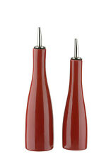 BIA SCOOP Stoneware Oil and Vinegar Bottle Pourer Drizzler Dispenser Set Red New