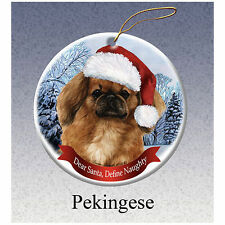 Pekingese Howliday Porcelain China Dog Christmas Ornament