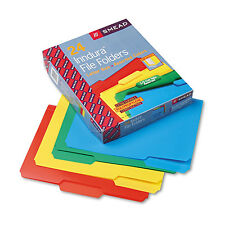 SMEAD 24pc POLY PLASTIC FILE FOLDERS 1/3 Cut Top Tab Letter 4- COLOR heavy duty