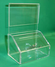 10 (Ten) FUNDRAISING CHARITY DONATION BOXES WITH SIGN-HOLDER & FREE PADLOCK