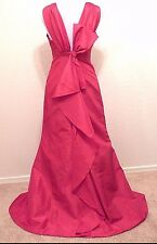 DAVIDS BRIDAL Long Maxi Red Taffeta A-Line Evening Dress 4 5 S Elegant Gown