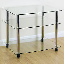 Mobile Chrome & Clear Glass 3 Shelf TV Stand/Trolley/Unit with Castor Wheels