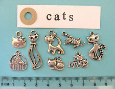 Tibetan silver charms mixed pack of 8 different cat charm pendants