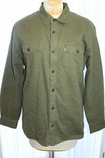 LEVI'S Shirt Jacket L Olive Green BUTTON FRONT SHERPA FLEECE LINED Work Coat