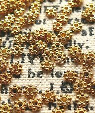 Flower Spacer Beads Daisy Bali Style Beads Gold Plated Brass 4 MM (100 Bead Lot)