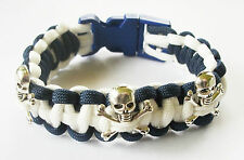 Royal Navy Submariner Teschio e Ossa incrociate Paracord Braccialetto Con Distintivi