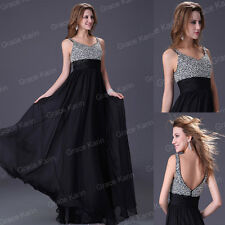 UK 6 Pageant Ball Gown Evening Banquet Party Prom Engagement Chiffon Long Dress