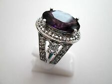 925 Silver Natural Amethyst And White Topaz Ring Size R 1/2, US 8.75 (rg1789)